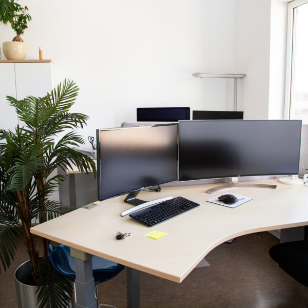work space with desk and monitor